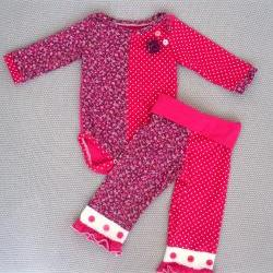 Baby girl outfit-onesie-hot pink-purple-floral-polka dots-9-12 months