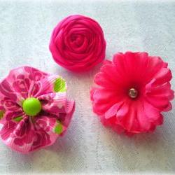 Baby hair clips-hot pink-rolled rose-mini clips